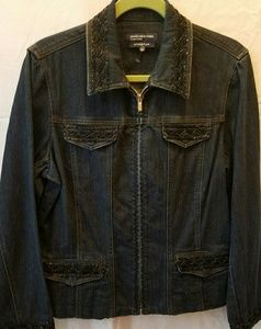Jones NY Signature Size L Stretch Denim Zip Jacket